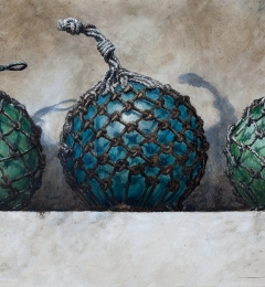 Three glass floats - 2017 - 18 x 30 inches - Watercolour on Twinrocker paper
