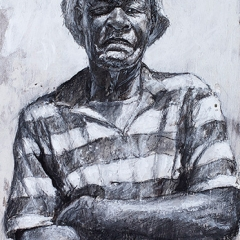Louis Taylor Third Drawing - 12 x 5 inches - Charcoal ink & casein on wood
