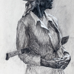 Ophelia in the Field - 30 x 14 inches - Charcoal on canvas