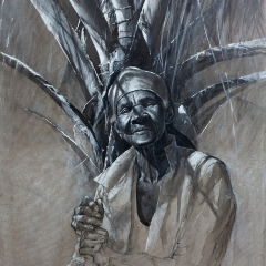 Proud of Her Palm Tree - 32 x 24 inches - Charcoal, black pastel & casein on canvas
