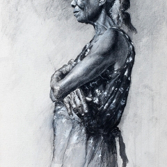 Joyce's Black Dress - 30 x 14 inches - Charcoal & black pastel on canvas