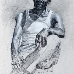 Tony Ten Years Later - 30 x 14 inches - Charcoal & casein on canvas