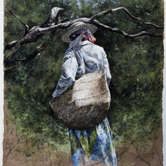 Ophelia Looking for Crabs - 30 x 20 inches - Watercolour on chocolate Lokta paper