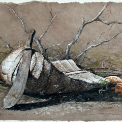 Sweet Potatoes and Ophelia's Tools - 14 x 20 inches - Watercolour & black pastel on Lokta paper