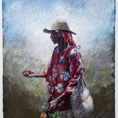 Ophi Sweet Potatoes - 30 x 20 inches - Watercolour on Lokta paper