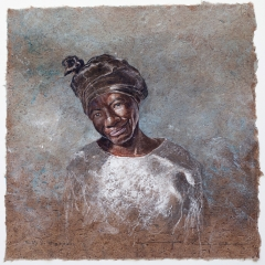 Betty's Bigoudis - 11 x 11 inches - Watercolour on tan Lokta paper