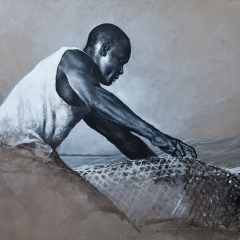 Omar & the Fish Pots #1 - 28 x 20 inches - Chacoal , black & white pastel on canvas